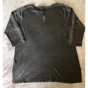 Cable & Gauge -  Cutout Rhinestones Sleeves Tunic